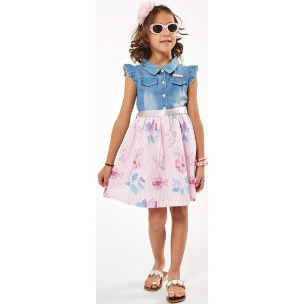 Ebita 202283 Φόρεμα με στέκα τζιν-ροζ