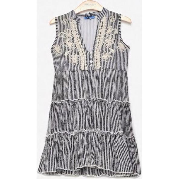 Funky Buddha FBG00141513 Φόρεμα Ασπρο-Μαύρο