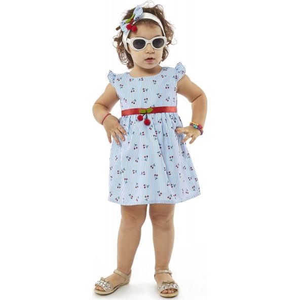 Ebita 4506 Φόρεμα με Κορδέλα Γαλάζιο